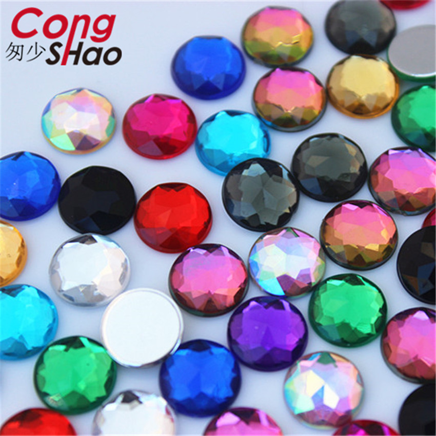 Cong Shao 100pcs 10mm Colorful Round Stones And Crystals Flatback Acrylic Rhinestone Trim Scrapbook Wedding Dress Button ZZ752