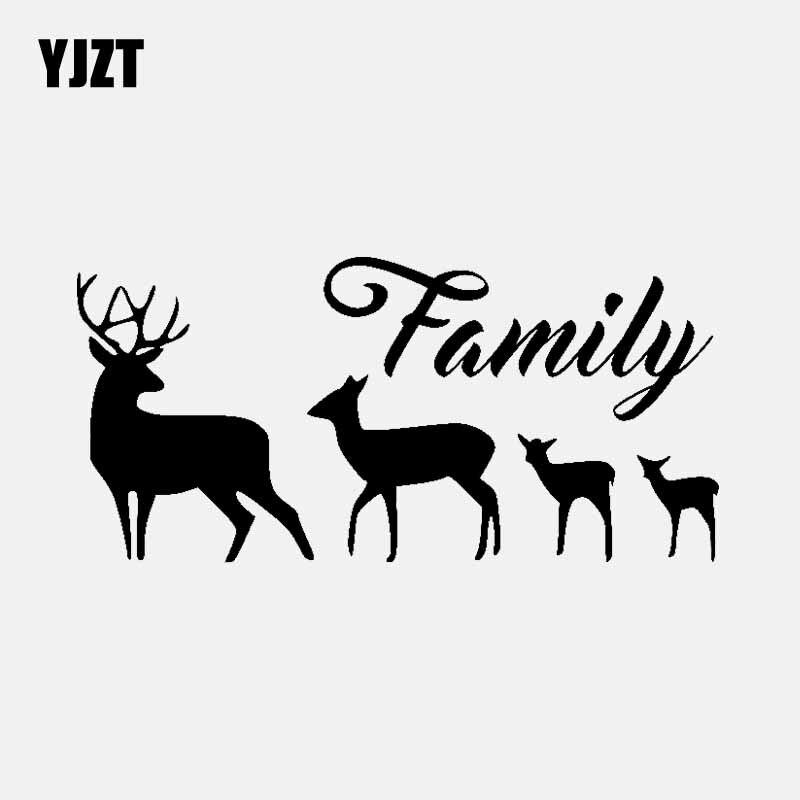 YJZT 16.4CM*7.8CM Four Deer Family Vinyl Art Car Sticker Decal Black/Silver C3-2189