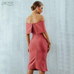 Image 5 - Adyce 2020 신 여름 여성 Bodycon 붕대 드레스 슬래시 목 어깨 미디 클럽 드레스 유명 인사 저녁 파티 드레스 Vestidos