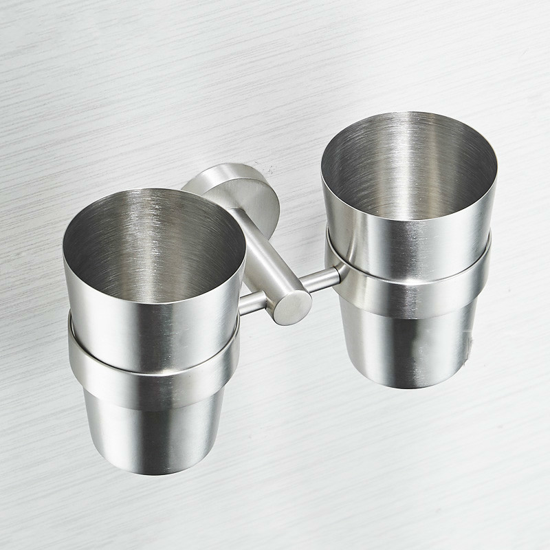 цена на A1 304 stainless steel vacuum flask creative couple wash cup holder wall mount double cup holder toothbrush cup set LO720420
