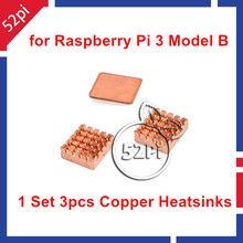 1 Set of Pure Copper Heatsinks 3 Pieces of Heat Sink Cooling Kit for Raspberry Pi 3 Model B