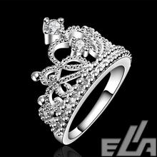 Aliancas casamento austrian crown rings plated silver crystal vintage jewelry fashion