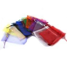 Sacs d'emballage de bijoux de couleurs mélangées 7x9cm, 10 pièces/lot, sacs en Organza à tirer pour noël, sacs cadeaux de mariage