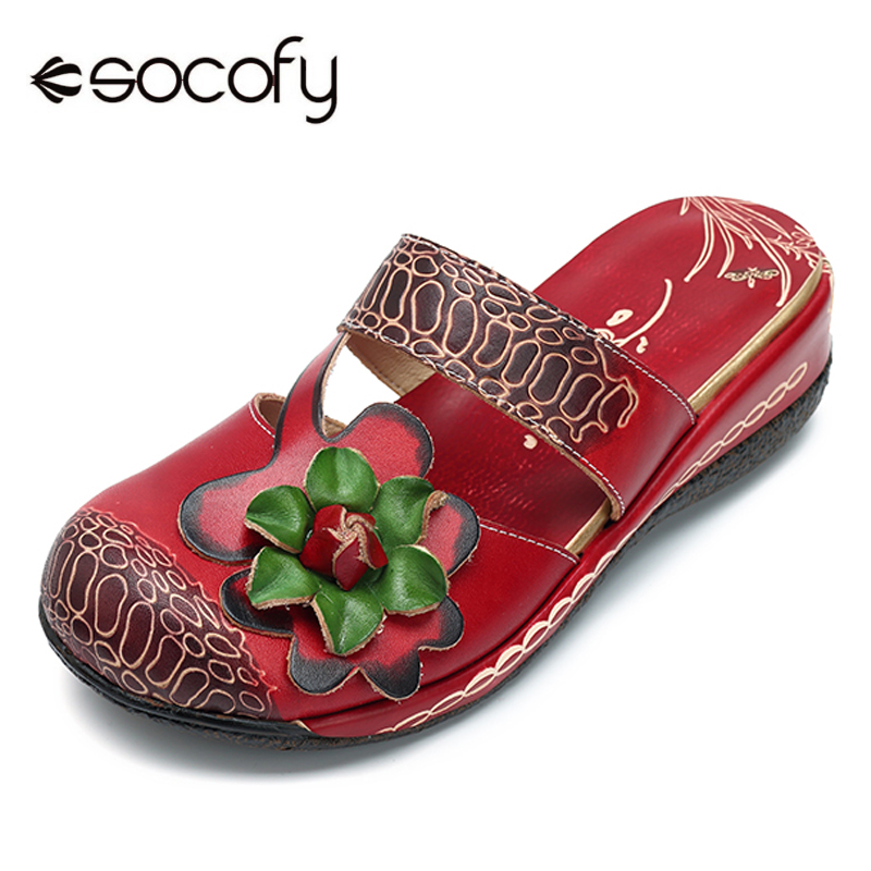 SOCOFY Women Casual Shoes Summer Slipper Handmade Genuine Leather Retro