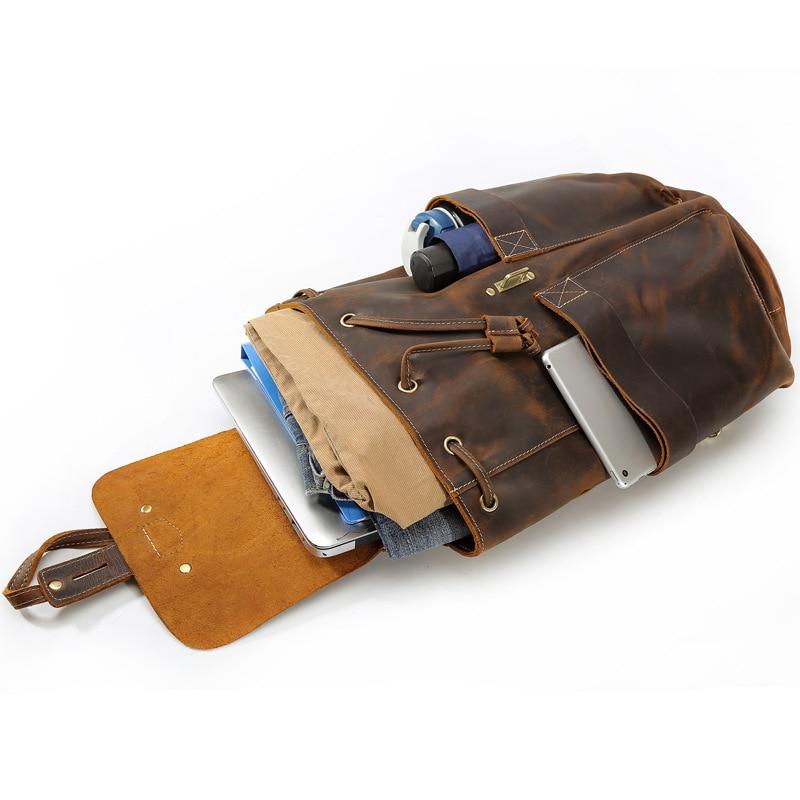 Folgandros Vintage Männer Brown Frauen Leder Kuh Multifunktions Rucksack Klassische Rucksäcke Echtes Top Deep Laptop Bookbag Mochila String rrxwdABq