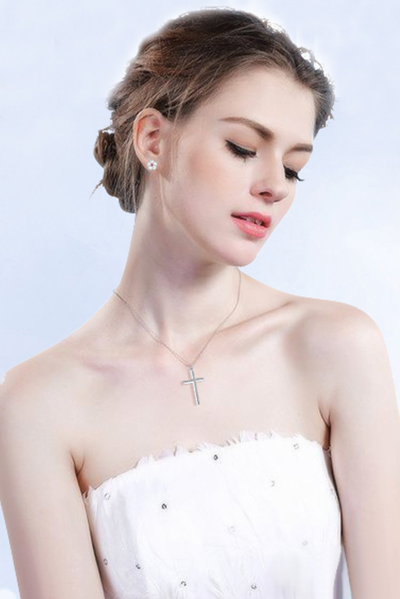 Cross Choker Necklace Real 925 Sterling Silver Pendant Female Jewelry - Fashion Jewelry - Photo 4