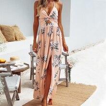 цены Backless Sexy Women Long Dress Plus Size Floral Designer Dresses Deep V Neck Summer Beach Clothes
