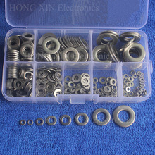 цена на 360Pcs/set Flat Washer M2 M2.5 M3 M4 M5 M6 M8 M10 304 Stainless Steel Plain Washer Gaskets Assortment Metric Flat Gasket Kit