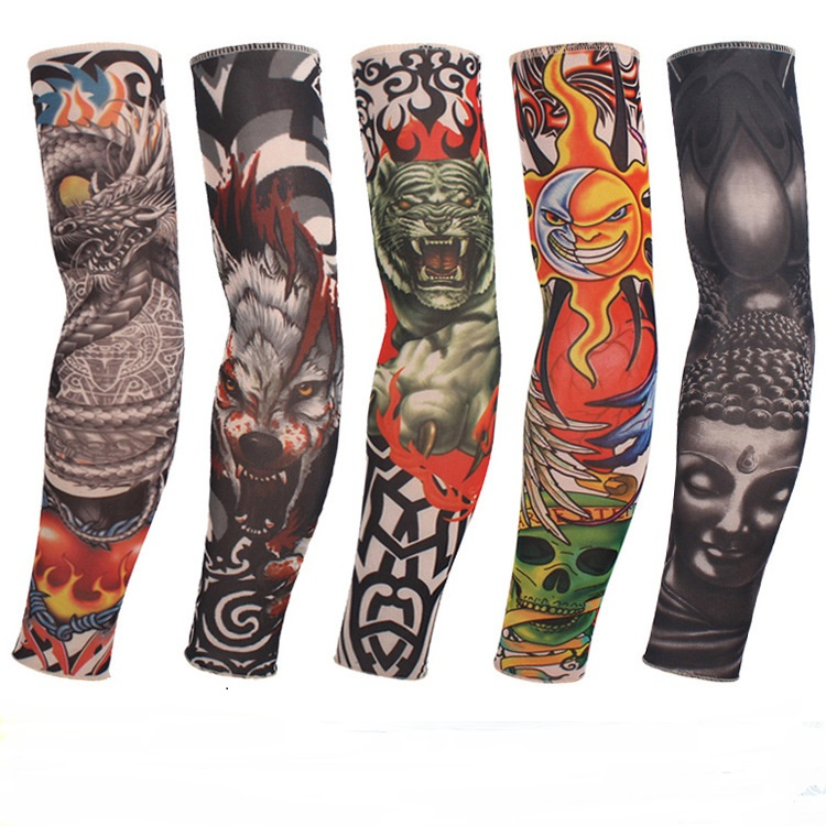 20 Kinds Buy 1 Get 1 Free Rock Arm Warmers Fingerless Gloves Pulseiras De Couro Hand Warmer UV Sleeve Tattoo Punk Armstulpen