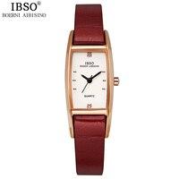 IBSO 7 mét Hình Chữ Nhật Siêu Phụ Nữ mỏng Đồng Hồ Top Brand Luxury Tinh Thể Kim Cương Leather Strap Phụ Nữ Đồng 2017 Relogio Feminino