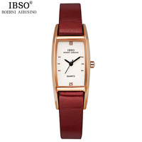 IBSO Brand Fashion Women Watches 2017 High Quality Genuine Leather Strap Quartz Watch Women Crystal Diamonds