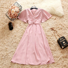 2018 summer new female V-neck Drawstring flare sleeve chiffon A-line dress women's V Collar lace-up waist elegant dress
