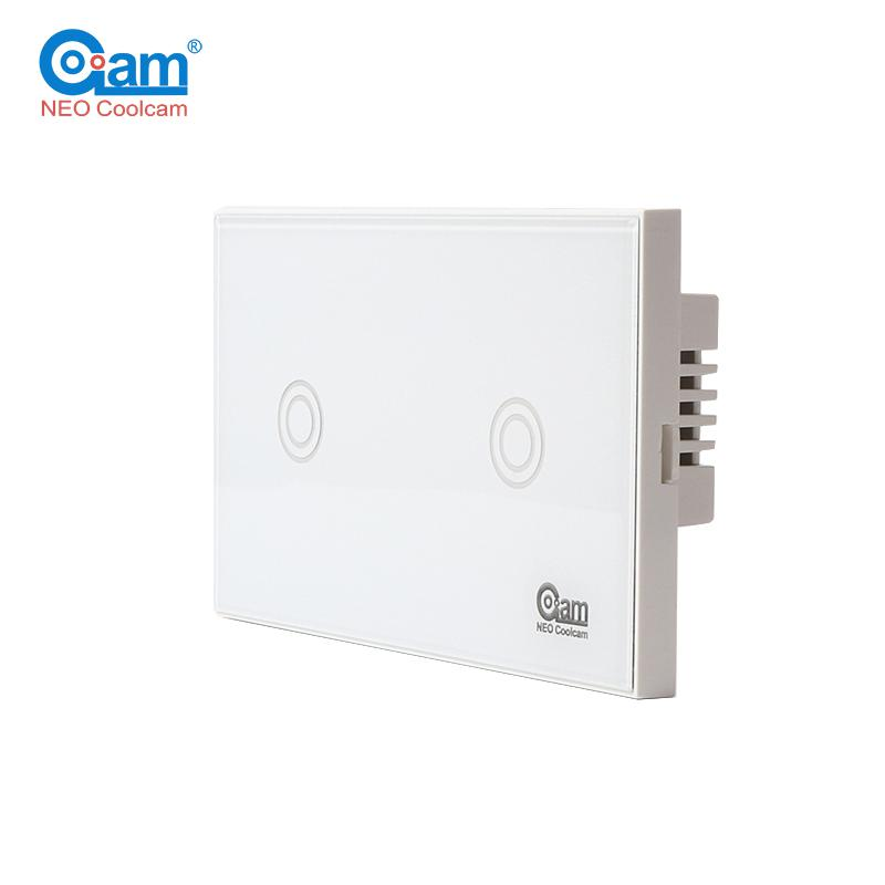 Coolcam Brand NAS-SC02Z Z-wave Wall Light Switch 2 Gang US Version 908.4MHz Z Wave Wireless Smart Touch Remote Control 2017 free shipping smart wall switch crystal glass panel switch us 2 gang remote control touch switch wall light switch for led