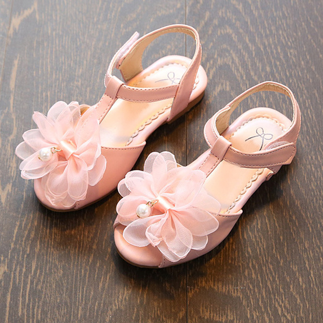 Pearl Flower Girls Sandals Princess Shoes Fashion T Belt Children