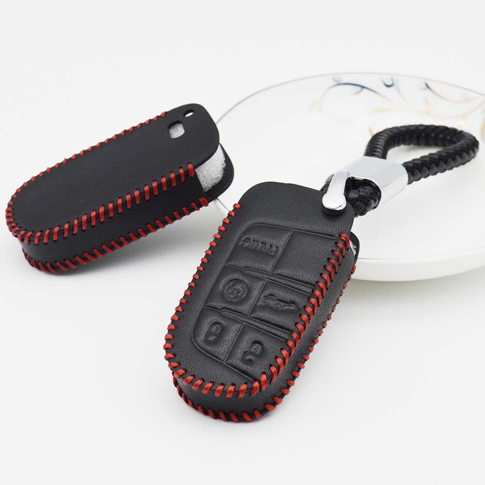 Lederen Auto Key Case Cover Voor Fiat 500 Stilo Panda 500X Grande Punto Doblo Freemont Sleutelhanger Keten Beschermende shell