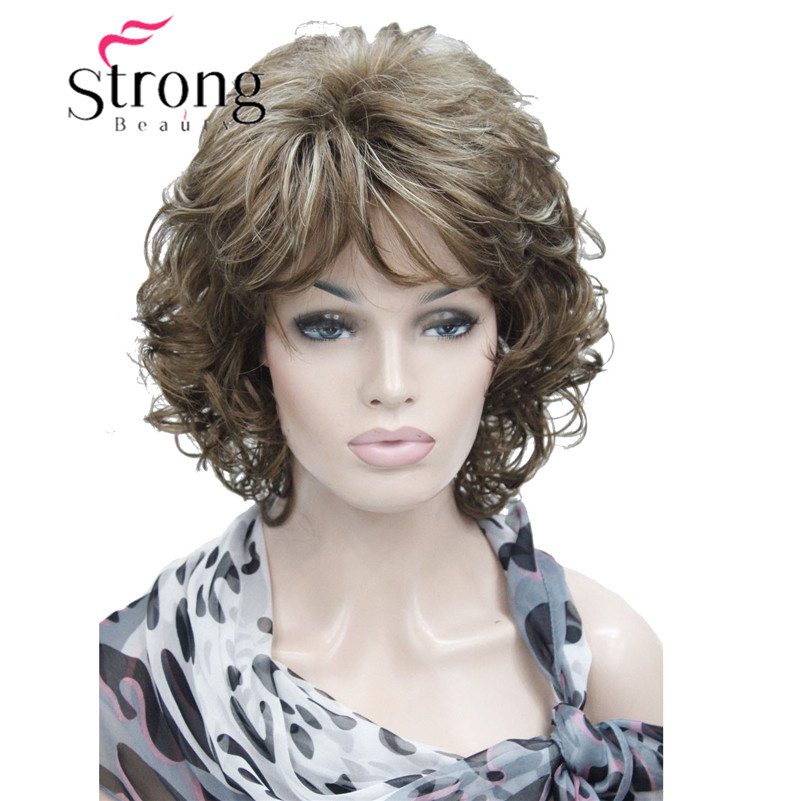 StrongBeauty Short Soft Shaggy Layered Full Synthetic Wig Brown Highlights Curly Womens Synthetic Wigswig brownwig wigwig brown curly -