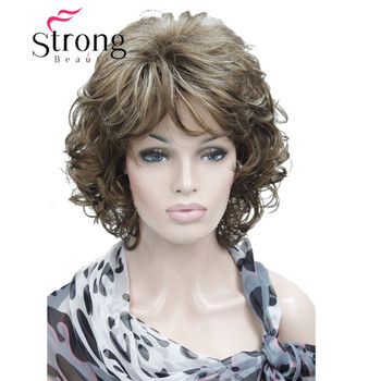 StrongBeauty Short Soft Shaggy Layered Full Synthetic Wig Brown Highlights Curly Women's Wigs - discount item  14% OFF Synthetic Hair