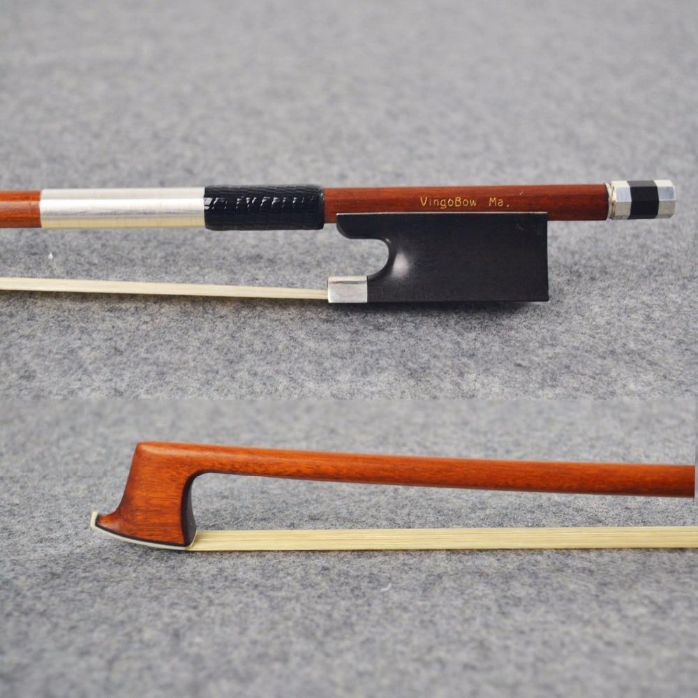 936V 4/4-kokoinen Master Pernambuco VIOLIN BOW Ebony-sammakko Luonnonvalkoinen Horsehair suora voimakas viuluosien tarvikkeet