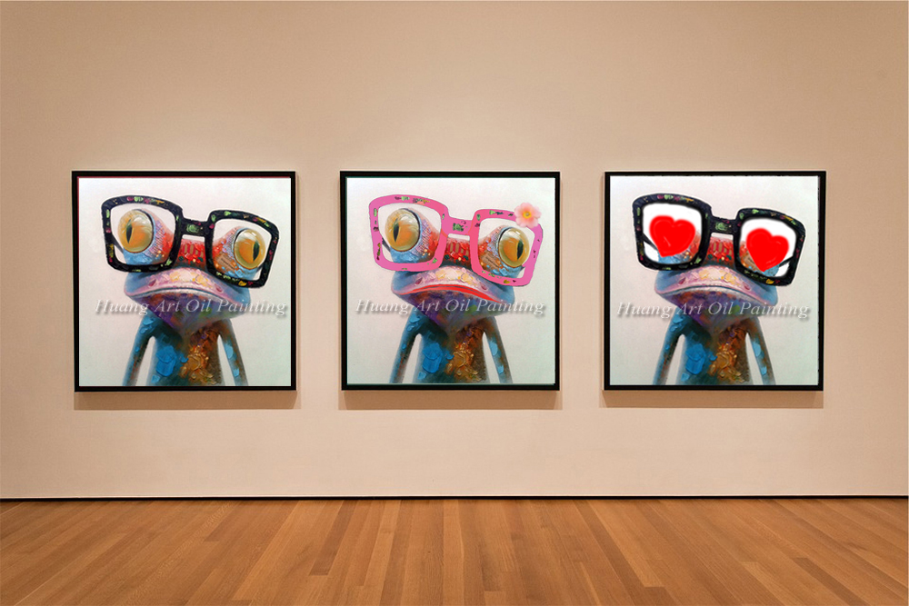 Cartoon animal abstract oil painting frog wears glasses for Canvas painting for kids room