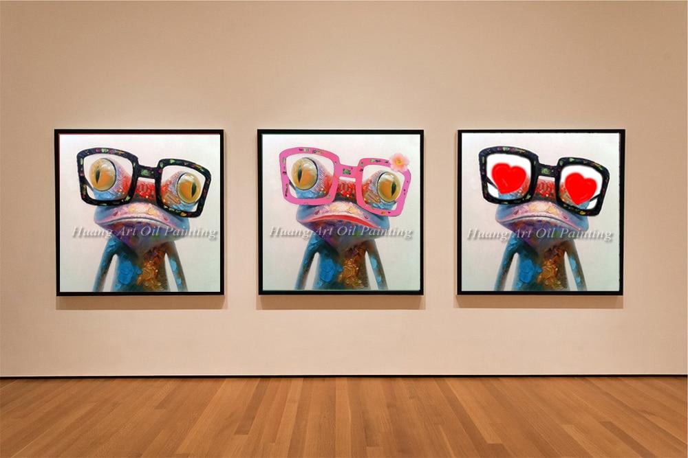 usa gafas de pintura al leo abstracta de la rana animal de la historieta pegatinas de pared para nios para comedo