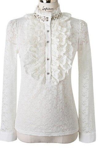 White Black Shirt Victorian Blouse Womens Sheer Top Ladies Office