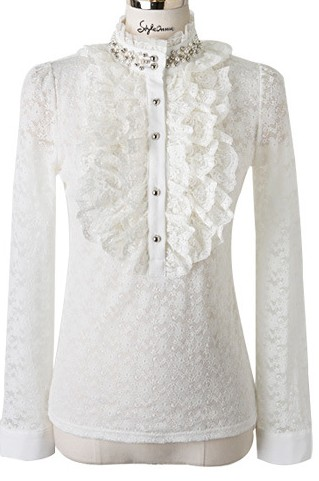 Womens White Victorian Blouse 38