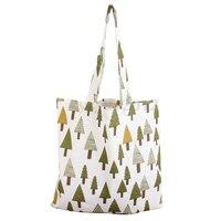 5) Tree In Phụ Nữ Mua Sắm Vai Tote Handbag Satchel Túi Hàng Tạp Hóa Bãi Biển Satchel White & xanh