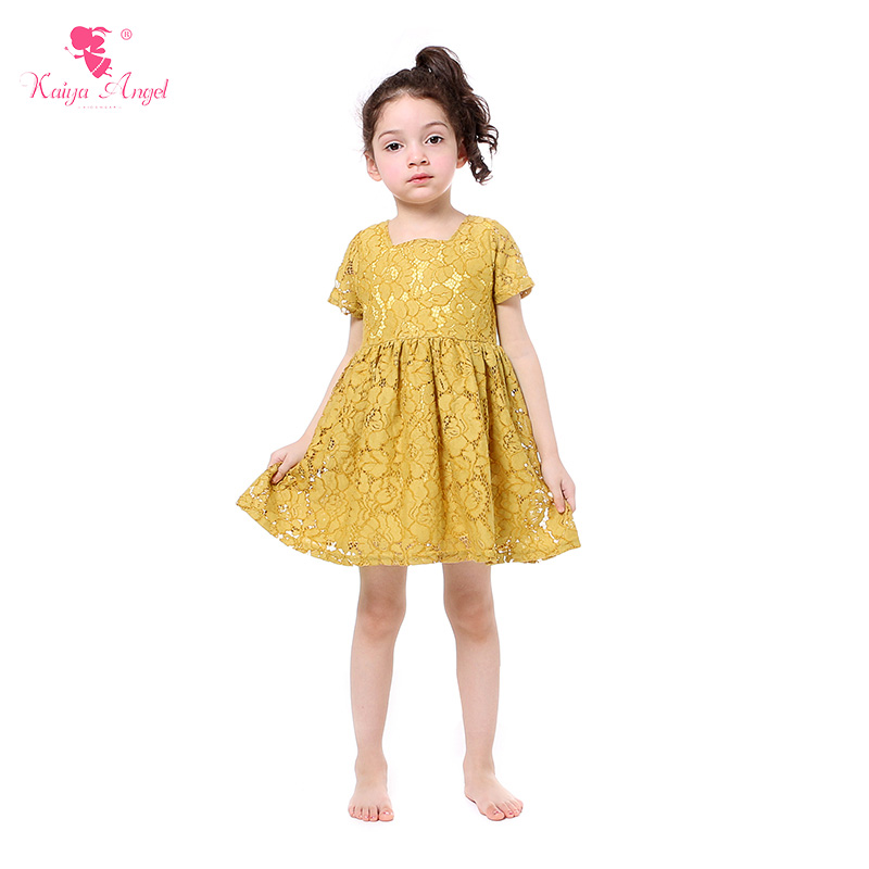 Us 6559 23 Offkaiya Angel Girl Dresses Mustard Yellow Lace Princess Dress Girls Clothes Summer Children Clothing In Dresses From Mother Kids On