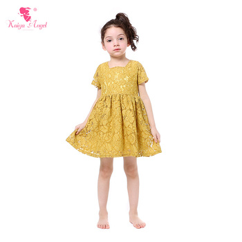Kaiya Angel Girl Dresses Mustard Yellow Lace Princess Dress Girls Clothes Summer Children Clothing