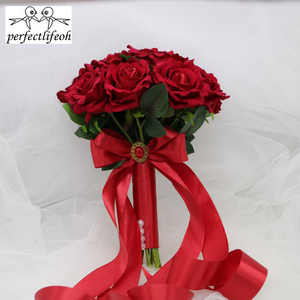 Image 2 - perfectlifeoh Hot Red Wedding Bouquet Bridal Bouquet Wedding Decoration Foamflowers Rose Bridal Bouquet