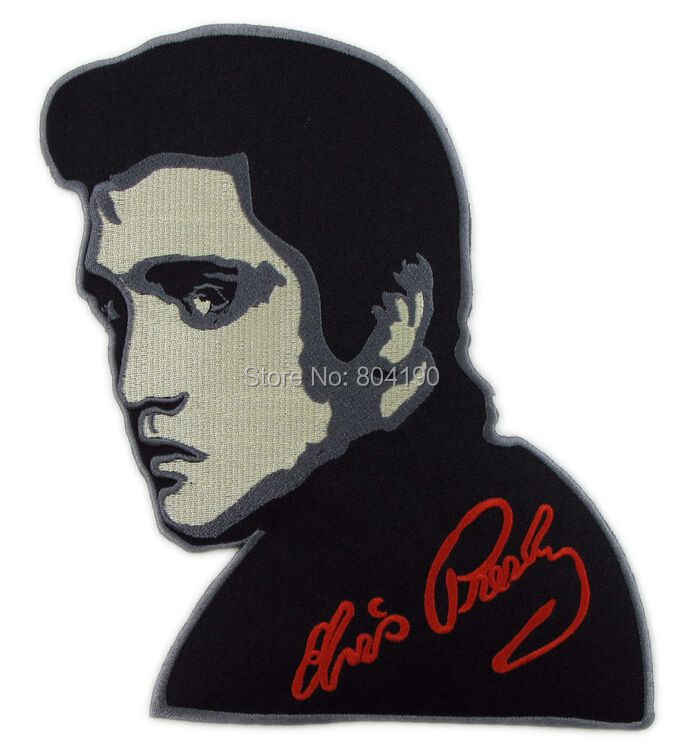"8.7 ""ELVIS PRESLEY EKSTRA BESAR Tattoo Ink Chic Rockabilly patch musik band BORDIR BESI Pada HARDCORE HEAVY LOGAM APPLIQUE"