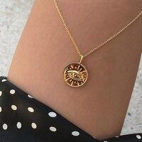 Colliers pendentif oeil de pièce en or pour femmes Simple disque rond couches tour de cou Boho breloques colliers initiaux bijoux