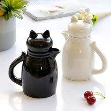 Мультяшные керамические кувшины для молока с крышкой, чашка для крема, кофе, сливки, латте, художественный кувшин, кухонные аксессуары для кофе