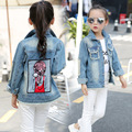 Denim Jackets For Girls Clothing Children Outerwear 2017 Spring Autumn Cartoon Denim Coats For Girls Tops 2 3 4 6 8 10 12 Years