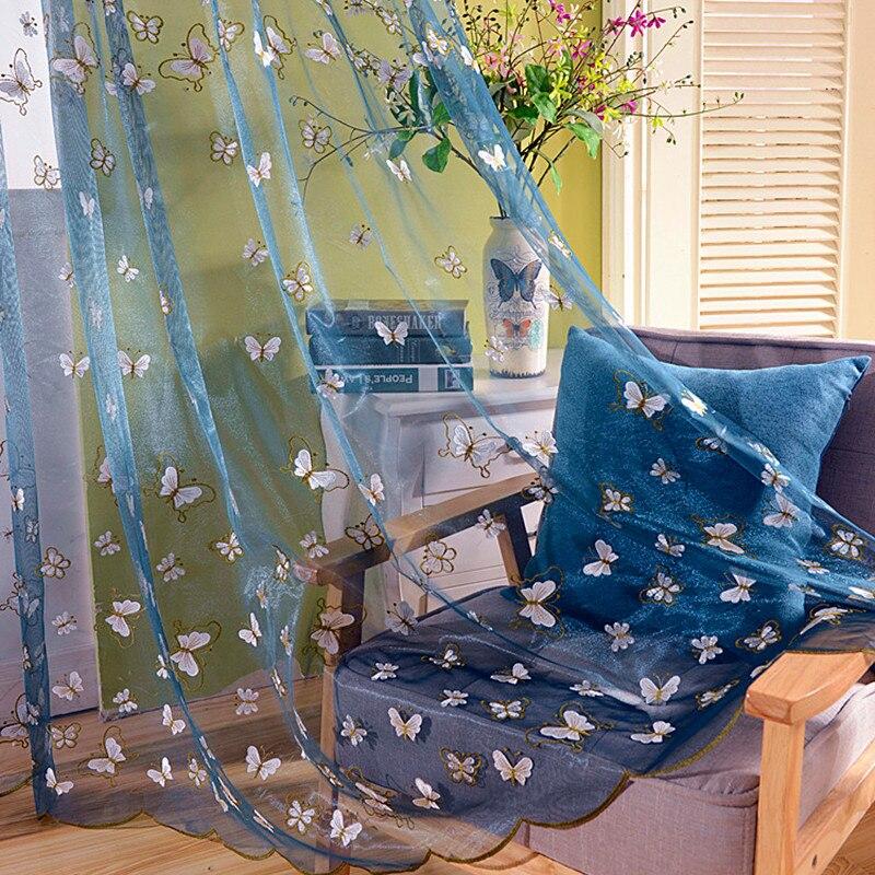 Cortinas Wohnzimmer Jacquard Vorhange Schone Bestickt Schmetterling