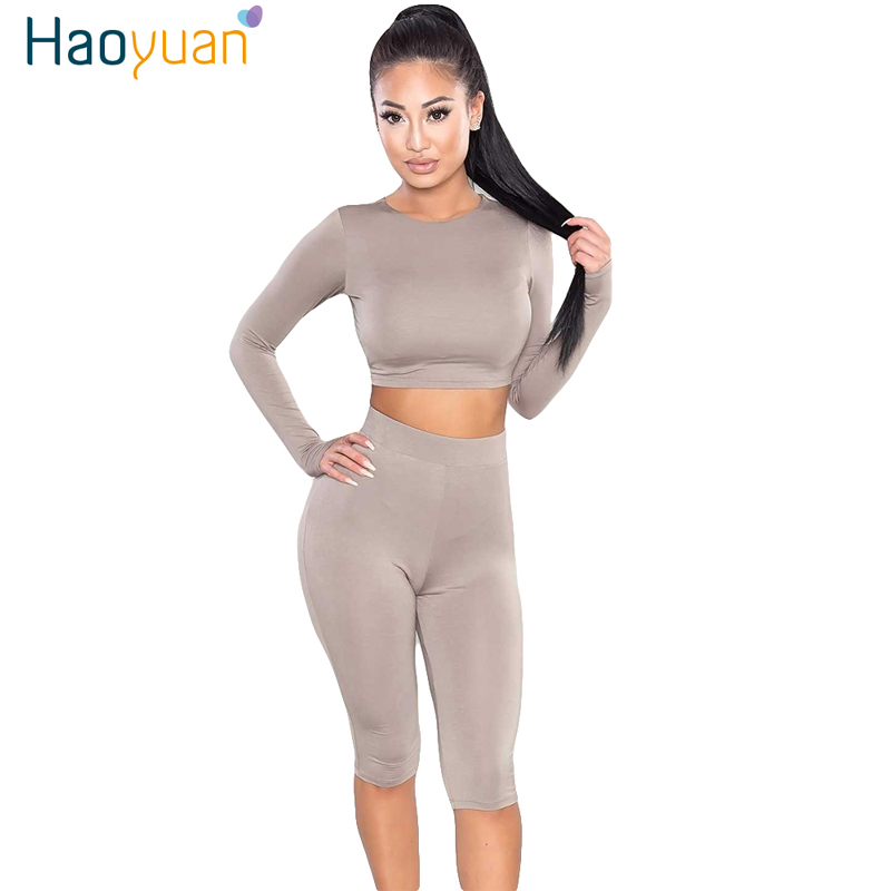HAOYUAN 2 Piece Set Women Sexy Long Sleeve Top And Shorts Track Suit Autumn Bodycon Tracksuit Clothing Casual Two Pieces Outfits 1
