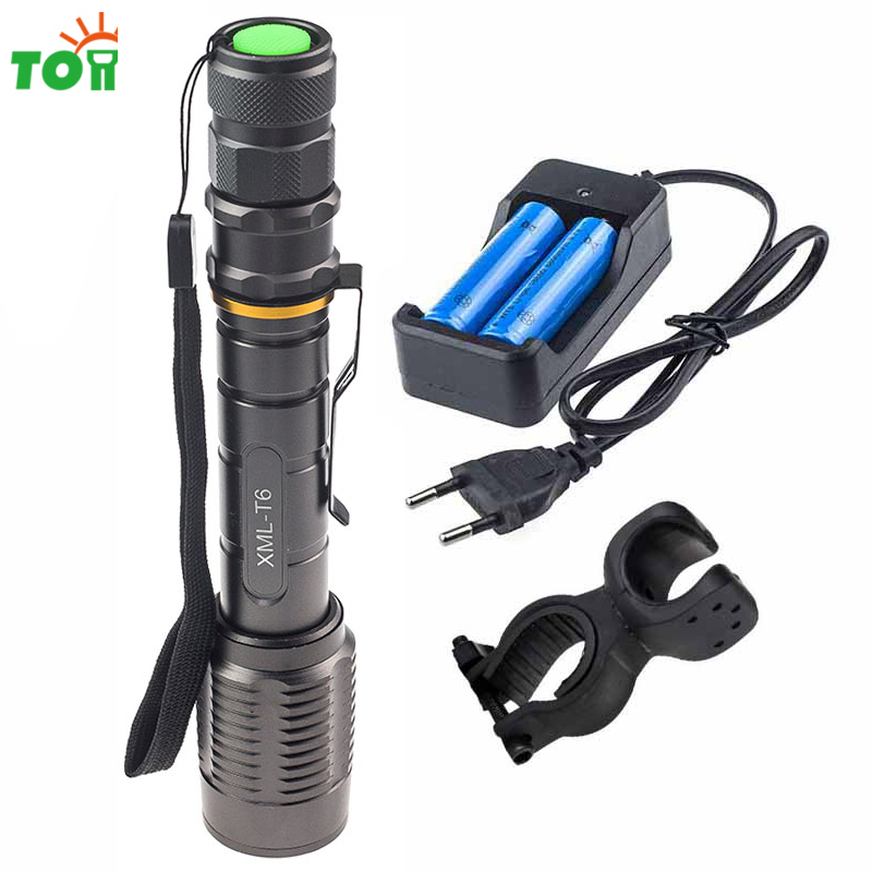 Cree xml T6 Led Working Lamp Rechargeable Portable Flashlight Zoom Lantern Strobe Emergency Light for Outdoor Backpacking Riding