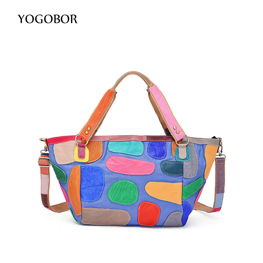 2017 New fashion women genuine leather tote bags colorful appliques handbags ladies large capacity casual shopping shoulder bag forudesigns casual women handbags peacock feather printed shopping bag large capacity ladies handbags vintage bolsa feminina