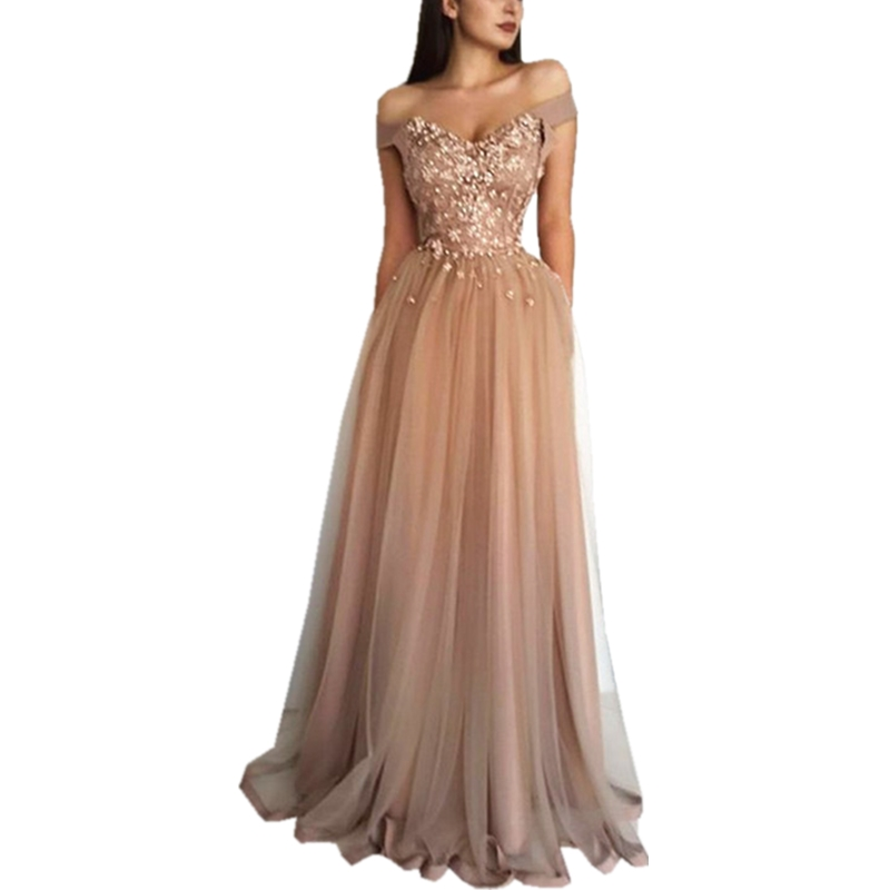 2019 Illusion   Prom     Dresses   Tulle Beading Appliques Party Gown Back Lace Up Evening   Dresses   Off The Shoulder Robe De Soiree