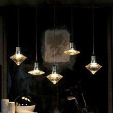 Art deco Colgante moderna Lámpara Colgante de cristal de vidrio transparente con cuerda g9 led Luces para Salón comedor Cocina Estudio bar cafe