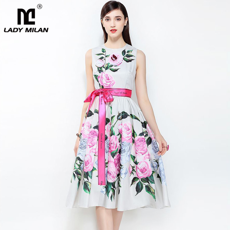 New Arrival 2018 Womens O Neck Sleeveless Floral Printed Sash Belt Fashion Designer Ball Gown Dresses