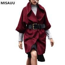 MISAUU Fashion Turn Down Collar Long Coat Elegant Winter Woman Wool Blend Coats Loose Female Pockets Outerwear Plus Size