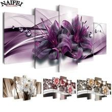 Набор для алмазной вышивки 5D «Лилия», картина «цветной цветок» с полными квадратными стразами, комбинированная вышивка 3D, мозаика для декора, 5 шт.