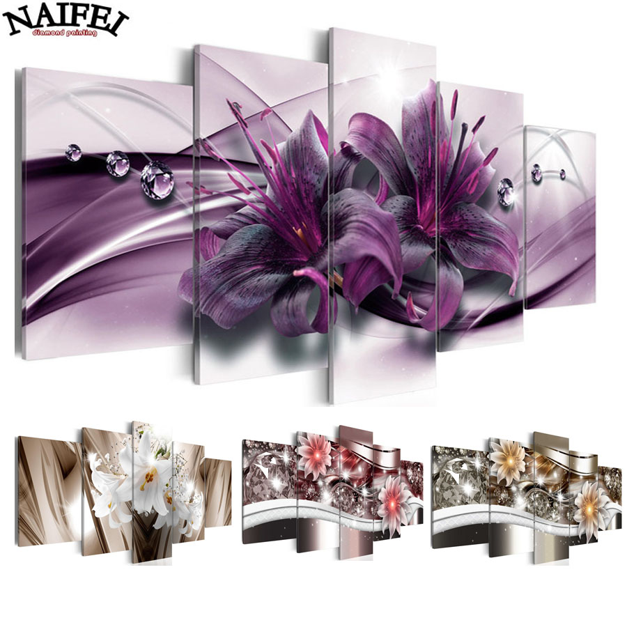 5pcs Full Square Drill 5D DIY Diamond Painting lily colourful flower Multi-picture Combination 3D Embroidery Mosaic Decor