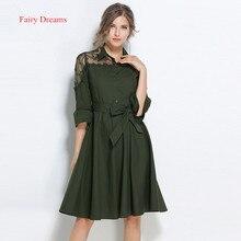 Fairy Dreams Ladies Shirt Dresses Mesh Embroidery Women Summer Bandage Dress 2017 New Style Plus Size Clothing vestidos de festa
