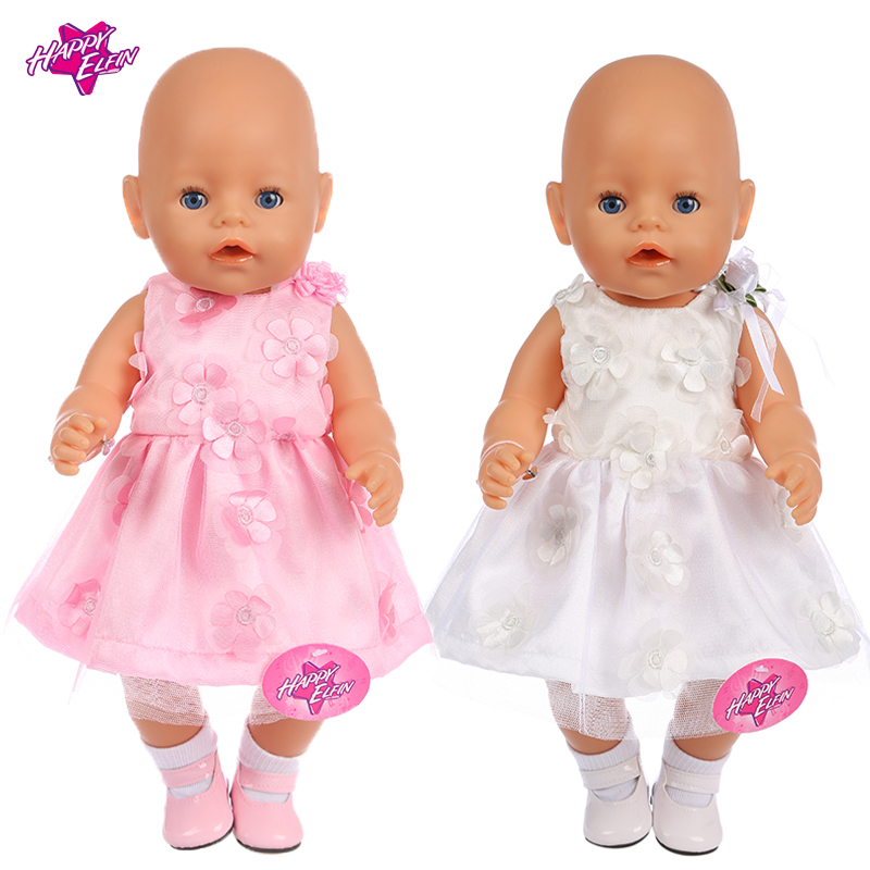 2 Colors Flower Doll Clothes Fit 43cm Baby New Born Doll