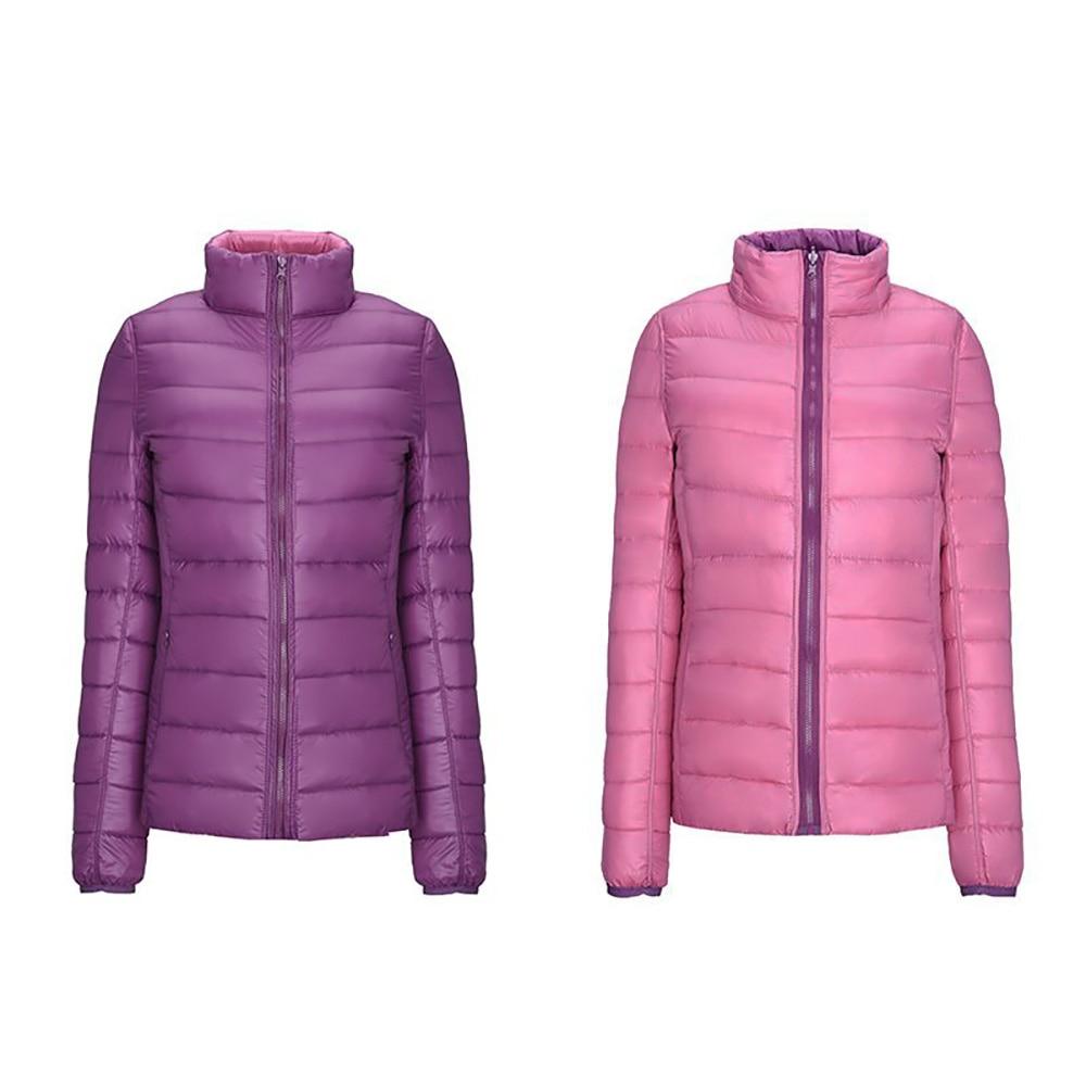 Winter Women Ultra Light   Down   Jacket Duck   Down     Coats   Long Sleeve Slim Warm   Coat   Double-Color Parka Female Portabl Plus Size