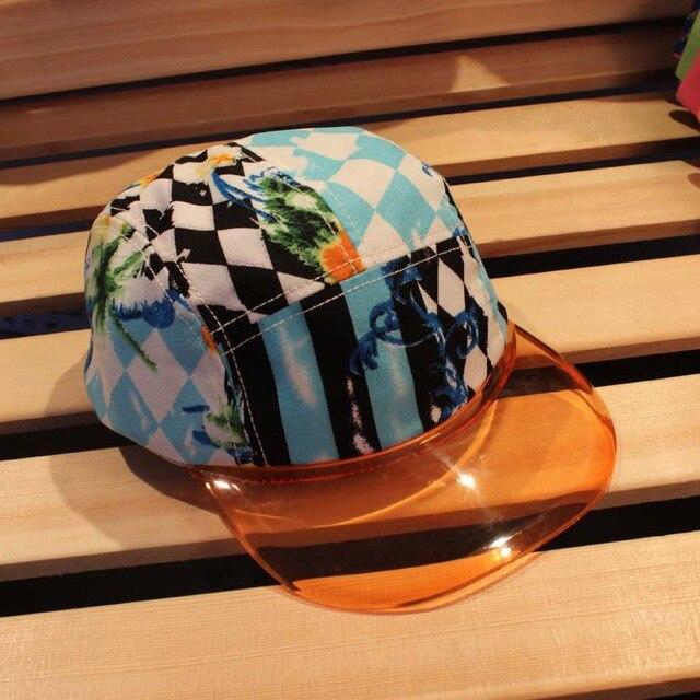 Summer fashion hat plastic hat brim hat outside sport cap baseball cap pvc  bill snapback cap crown all printed camp cap 45480f675c6