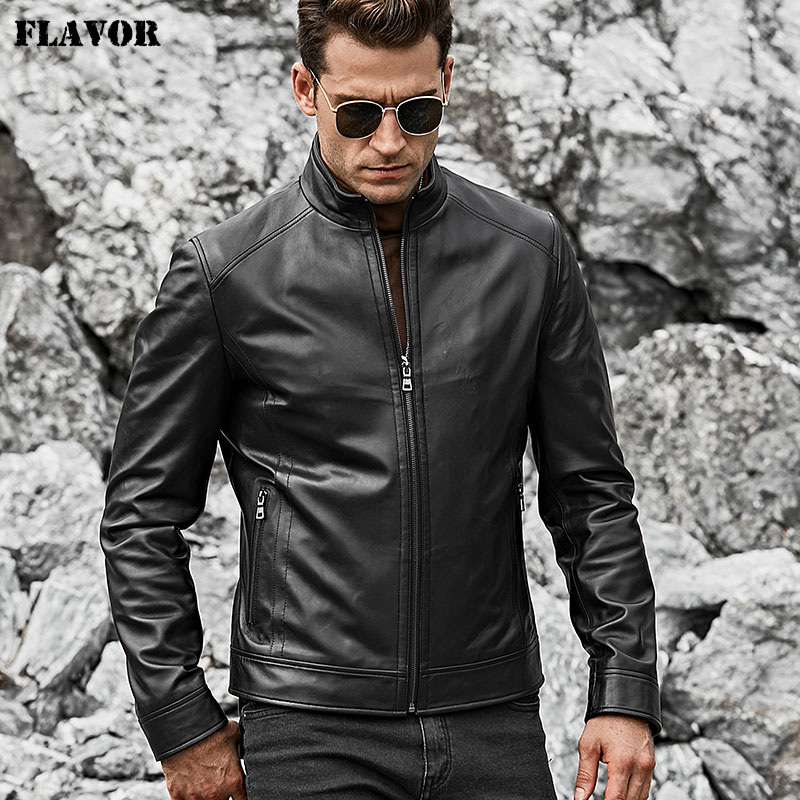 FLAVOR Men's Real Leather Jacket Men Slim Fit Warm Coat Motorcycle Lambskin Standing Collar Genuine Leather Coat
