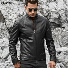 FLAVOR Men's Real Leather Jacket Men Slim Fit Warm Coat Motorcycle Lambskin Standing Collar Genuine Leather Coat(China)